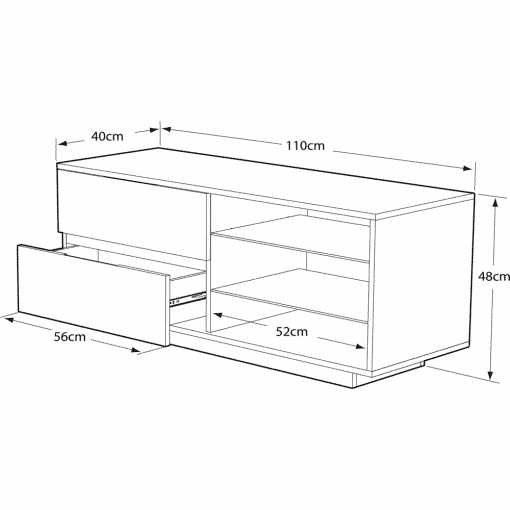 Dimensions Technical Drawing For MDA Designs Gallus Ultra 1100 Gloss Black Oak TV Stand