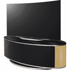 MDA Designs LUNA 1150 Oak Gloss Black / Oak / Brushed Aluminium Oval TV Stand