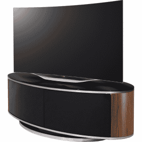MDA Designs LUNA 1150 Walnut Gloss Black / Walnut / Brushed Aluminium Oval TV Stand