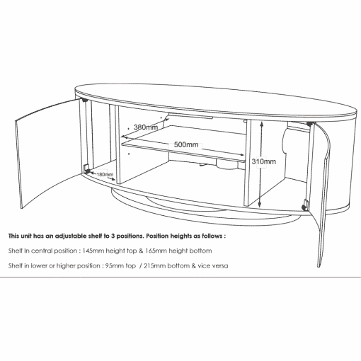 Dimensions Technical Drawing For MDA Designs Luna AV 1150 Gloss Black Brushed Aluminium Oval TV Stand