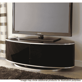 Lifestyle Home Setting Images For MDA Designs Luna AV 1150 Gloss Black Brushed Aluminium Oval TV Stand