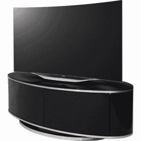 MDA Designs LUNA AV 1150 Gloss Black / Brushed Aluminium Oval TV Stand