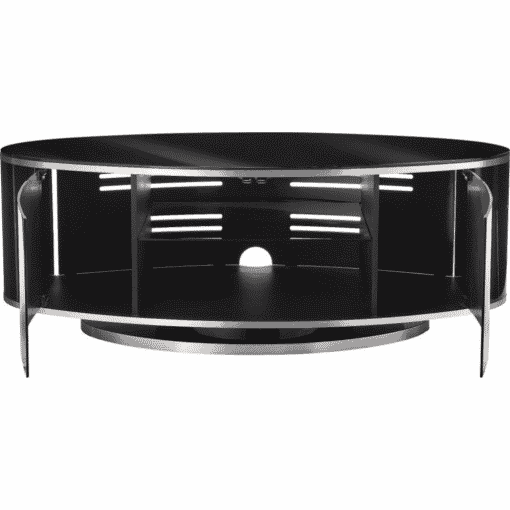 Additional Images For MDA Designs Luna AV 1150 Gloss Black Brushed Aluminium Oval TV Stand