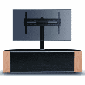 MDA Designs SIRIUS 1600 HYBRID Cantilever Gloss Black / Oak / Walnut Corner TV Cabinet