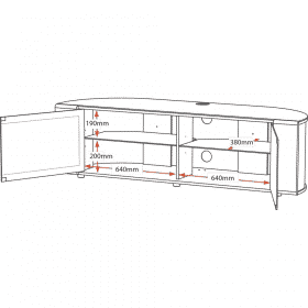Dimensions Technical Drawing For MDA Designs Sirius 1600 Hybrid Cantilever Gloss Black Silver Trim Corner TV Cabinet