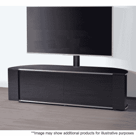 Lifestyle Home Setting Images For MDA Designs Sirius 1600 Hybrid Cantilever Gloss Black Silver Trim Corner TV Cabinet