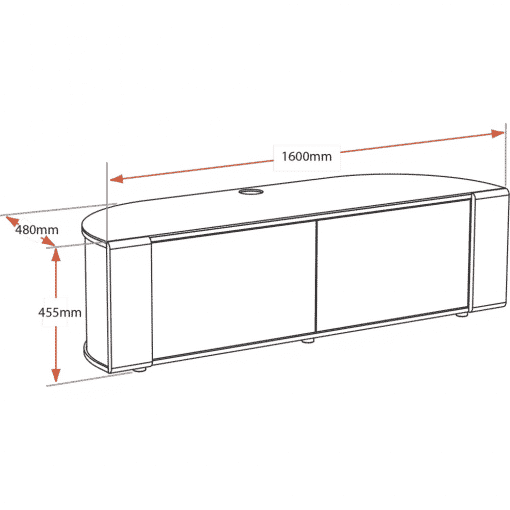 Dimensions Technical Drawing For MDA Designs Sirius 1600 Hybrid Gloss Black Silver Trim Corner TV Cabinet