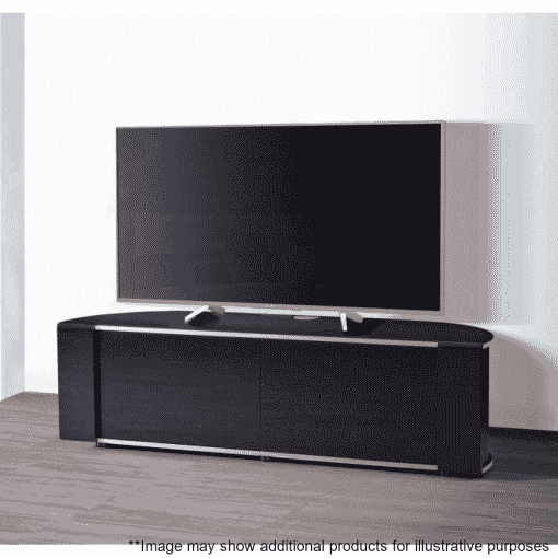 Lifestyle Home Setting Images For MDA Designs Sirius 1600 Hybrid Gloss Black Silver Trim Corner TV Cabinet