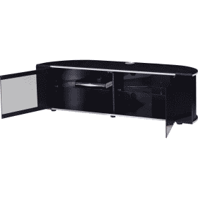 Additional Images For MDA Designs Sirius 1600 Hybrid Gloss Black Silver Trim Corner TV Cabinet