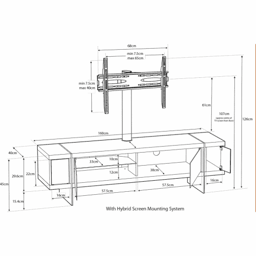 Dimensions Technical Drawing For MDA Designs Space 1600 Hybrid Cantilever Oak Gloss Black Oak TV Stand