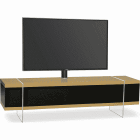 MDA Designs SPACE 1600 HYBRID Cantilever Oak Gloss Black / Oak TV Stand