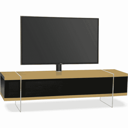 Main Image For MDA Designs Space 1600 Hybrid Cantilever Oak Gloss Black Oak TV Stand