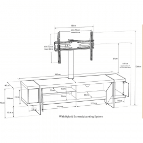 Dimensions Technical Drawing For MDA Designs Space 1600 Hybrid Cantilever Walnut Gloss Black Walnut TV Stand