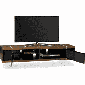 Additional Images For MDA Designs Space 1600 Hybrid Cantilever Walnut Gloss Black Walnut TV Stand