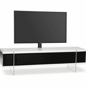 MDA Designs SPACE 1600 HYBRID Cantilever White Gloss Black / Gloss White TV Stand