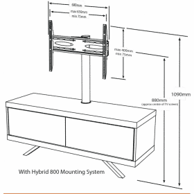Dimensions Technical Drawing For MDA Designs Tucana 1200 Hybrid Cantilever White Gloss Black Gloss White TV Stand