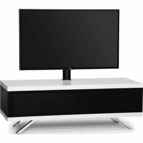 MDA Designs TUCANA 1200 HYBRID Cantilever White Gloss Black / Gloss White TV Stand