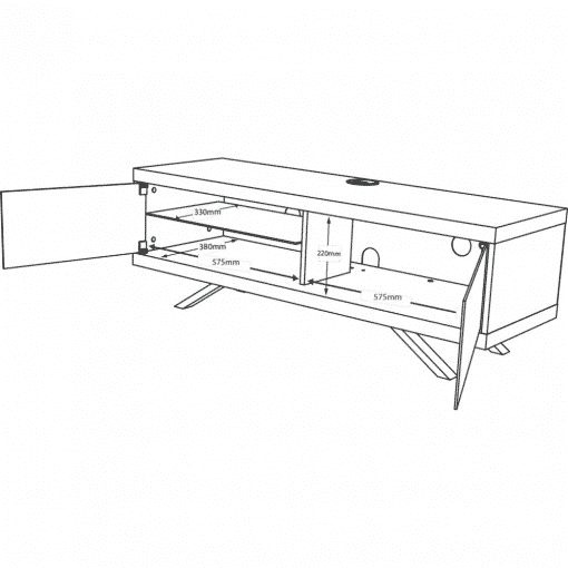 Dimensions Technical Drawing For MDA Designs Tucana 1200 Hybrid Gloss Black TV Stand