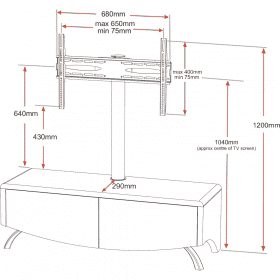 Dimensions Technical Drawing For MDA Designs Wave 1200 Hybrid Cantilever Oak TV Stand