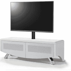 MDA Designs WAVE 1200 HYBRID Cantilever Satin White TV Stand