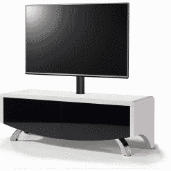 MDA Designs WAVE 1200 HYBRID Cantilever White / Black Satin TV Stand