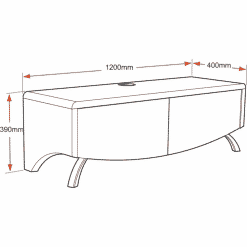 MDA Designs WAVE 1200 HYBRID Satin White TV Stand