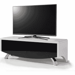 MDA Designs WAVE 1200 HYBRID White / Black Satin White TV Stand