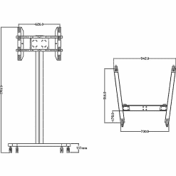 Dimensions Technical Drawing For Multibrackets M Display TV Stand 180 Single Black 0643