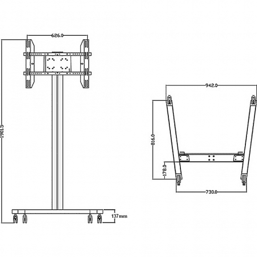 Dimensions Technical Drawing For Multibrackets M Display TV Stand 180 Single Silver 0636