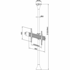 Dimensions Technical Drawing For Multibrackets M Floor To Ceiling TV Mount Kit Pro Mbfc1u 3620