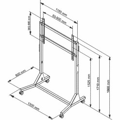 Dimensions Technical Drawing For Multibrackets M Manual Floor TV Stand 130kg Black Sd 2883