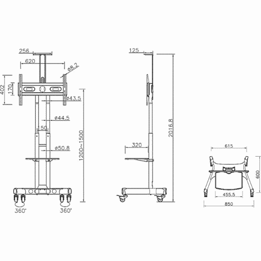 Dimensions Technical Drawing For Multibrackets M Public Floor TV Stand Basic 150 Shelf Camera Holder 2319