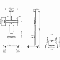 Dimensions Technical Drawing For Multibrackets M Public Floor TV Stand Basic 180 Shelf Camera Holder 4627