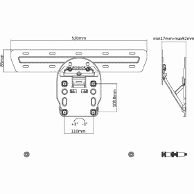 Dimensions Technical Drawing For Multibrackets M Qled Wall TV Mount Series 7 8 9 5464