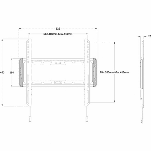 Dimensions Technical Drawing For Multibrackets M Universal Wall TV Mount Fixed Medium Black 1008
