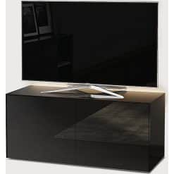 Frank Olsen Furniture INTEL1100LED-BLK High Gloss Black 1100 TV Unit Cabinet