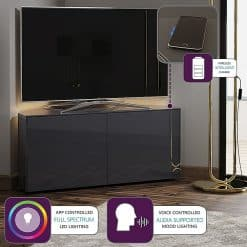Frank Olsen INTEL1100LED-CORNER-GRY 1100 Corner Grey TV Cabinet