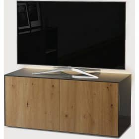 Frank Olsen Furniture INTEL1100LED-GRY-OAK 1100 Grey TV Cabinet Oak Veneer Doors