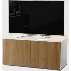 Frank Olsen Furniture INTEL1100LED-WHT-OAK 100 White TV Cabinet Oak Veneer Doors