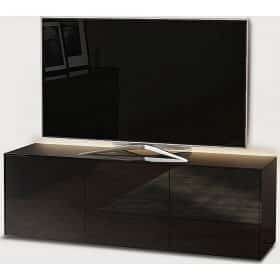 Frank Olsen Furniture INTEL1500LED-BLK High Gloss Black 1500 TV Unit Cabinet