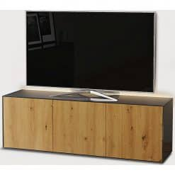 Frank Olsen Furniture INTEL1500LED-GRY-OAK Grey 1500 TV Cabinet Oak Veneer Doors