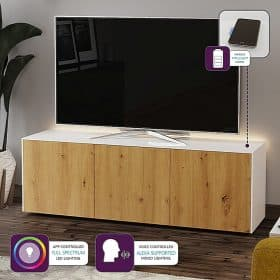 Frank Olsen Furniture INTEL1500LED-WHT-OAKV White 1500 TV Cabinet Oak Veneer Doors