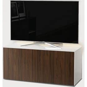 Frank Olsen INTEL1100LEDWHT-WAL 1100mm 110cm White TV Cabinet Walnut Doors
