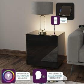 Frank Olsen INTELLAMP-LED-BLK Intelligent Lamp Table With Wireless Phone Charging