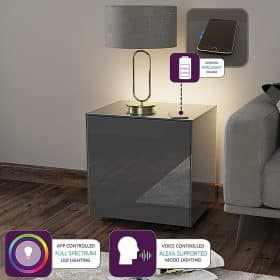 Frank Olsen INTELLAMP-LED-GREY Intelligent Lamp Table With Wireless Phone Charging