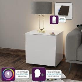 Frank Olsen INTELLAMP-LED-WHT Intelligent Lamp Table With Wireless Phone Charging
