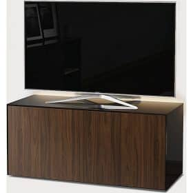 Frank Olsen INTEL1100LED-BLK-WAL 1100mm 110cm Black TV Cabinet Walnut Doors