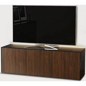 Frank Olsen INTEL1500LED-BLK-WAL 1500mm 150cm Black TV Cabinet Walnut Doors