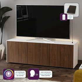 Frank Olsen INTEL1500LED-WHT-WAL 1500mm 150cm White TV Cabinet Walnut Doors