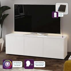 Frank Olsen Furniture INTEL1500LED-WHT High Gloss White 1500 TV Unit Cabinet